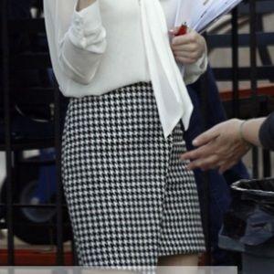 Black & White Asymmetrical Houndstooth Mini Skirt
